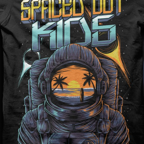 Space t-shirt with the title 'Tshirt for a  rock band '