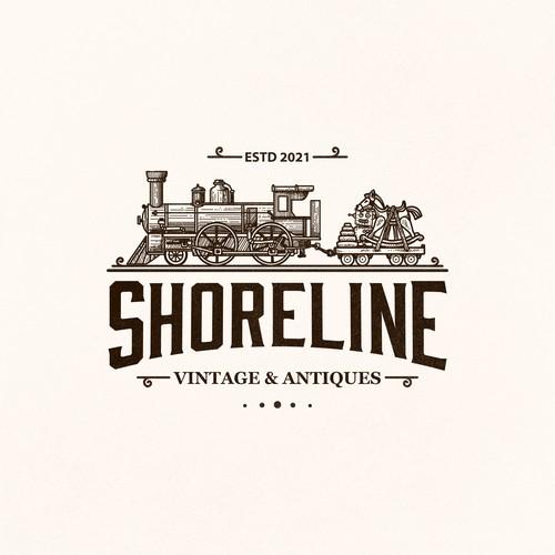 Locomotive design with the title 'SHORELINE VINTAGE & ANTIQUE'