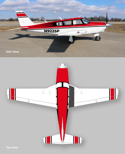 Decal design with the title 'Piper Comanche paint scheme'