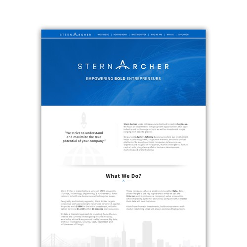 Finance website with the title 'Website design for Venture Capital Firm'