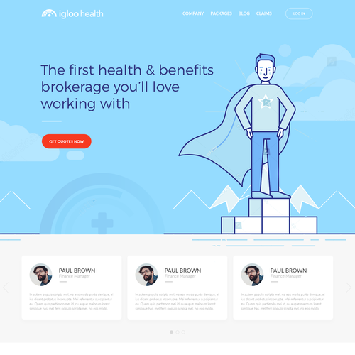 Pricing website with the title 'Innovative company website for Igloo Health'