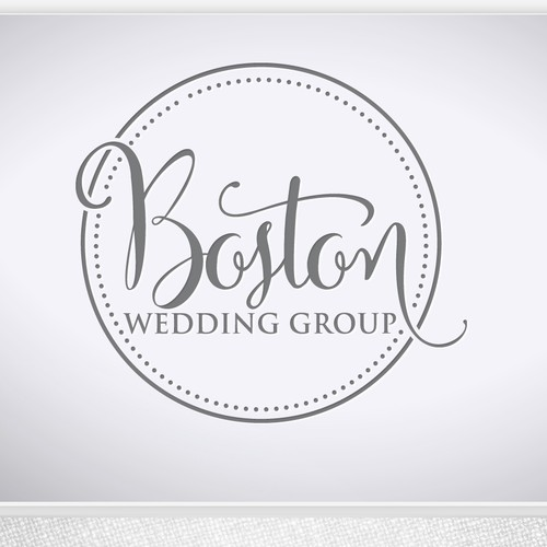 Gray and purple logo with the title 'Elegant logo for wedding company'