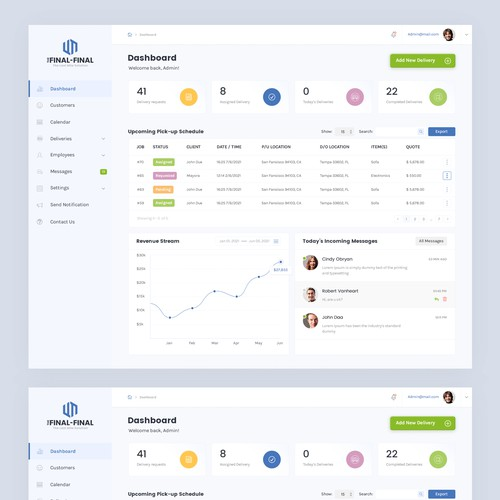 CRM design with the title 'CRM dashboard'