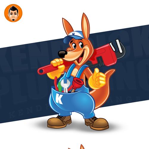 Tool design with the title 'Friendly Kangaroo Logo Mascot'