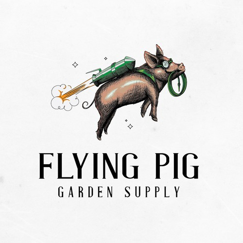 Farm animal logo with the title 'Flying pig logo design for Garden supply'