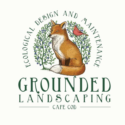 Foxy logo with the title 'grounded landscaping'