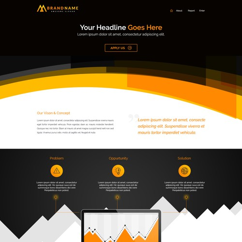 Currency design with the title 'Landing page design'