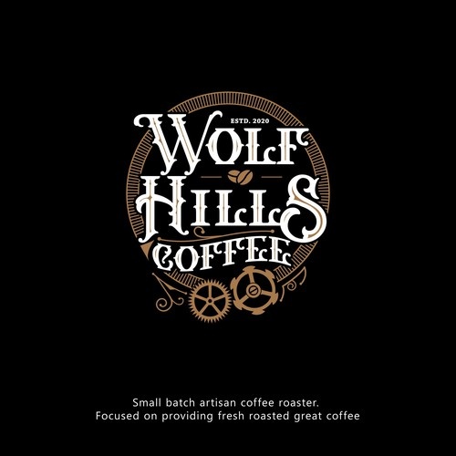 Steampunk logo with the title 'Wolf Hills Coffee'