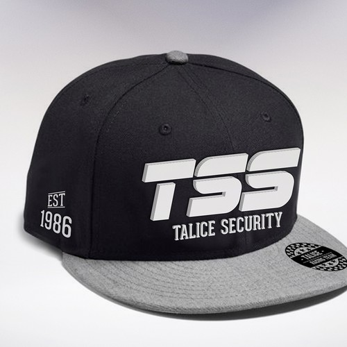 Cap design with the title 'SnapBack hat for Talice Security Sponsored Motor racing team'