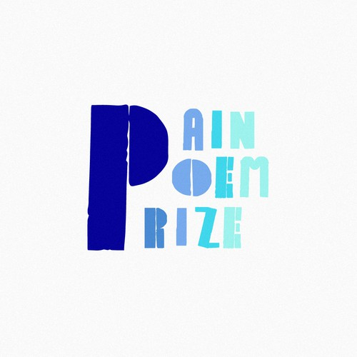 Cyan design with the title 'Pain Poem Prize Logo Concept'