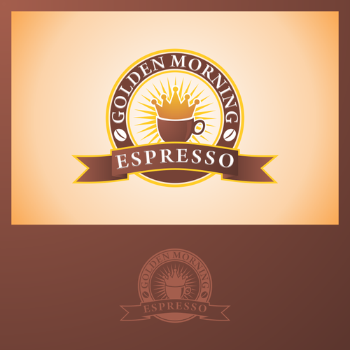 Rising sun logo with the title 'logo for Golden Mornings Espresso'