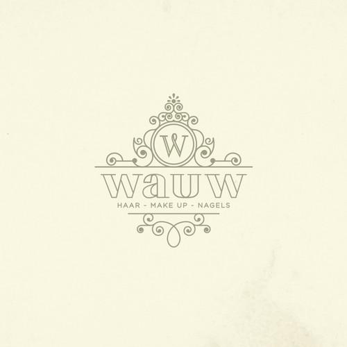 Elegant design with the title 'Wauw laat vrouwen er fantastisch uitzien en zoekt een huisstijl die past'