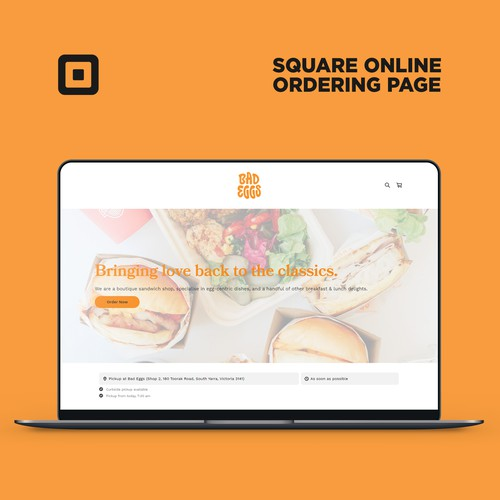 Online store website with the title 'Square Online Ordering Page For Bad Eggs cafe'