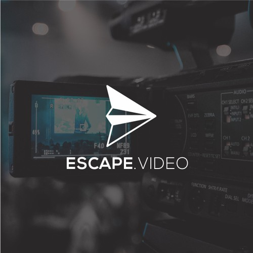Paper plane logo with the title 'Escape video logo'