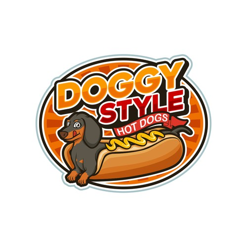 Hot dog logo with the title 'Doggy Style Hot Dogs'