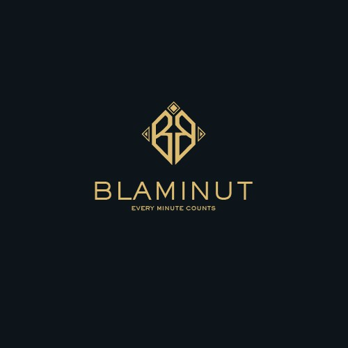 Stopwatch logo with the title 'Classy-Minimalist Logo for Blaminut Watch Co.'