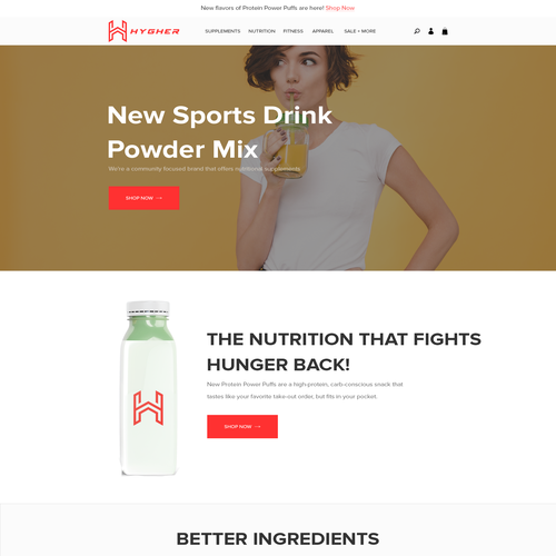 Nutrition website with the title 'New Sports Drink Powder Mix Website'