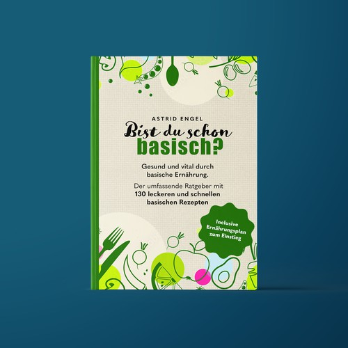 Cooking book cover with the title 'Book Cover for Recipe Cook Book about Alkaline Cooking'