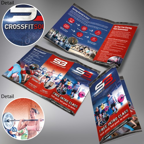Athletic design with the title 'CrossFit South Bay Tri Fold Brochure'