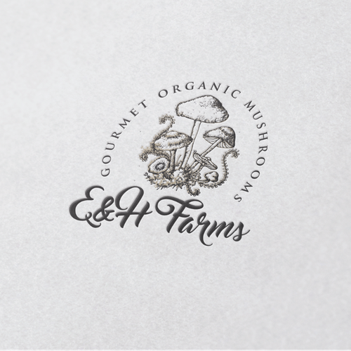 Gourmet design with the title 'Hand drawn mushrooms'