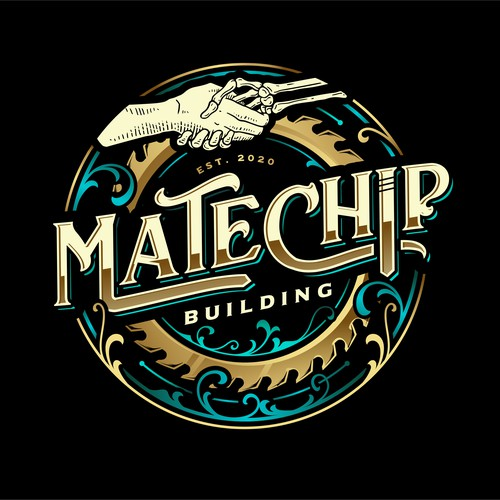 Carpentry logo with the title 'Mate Chip'