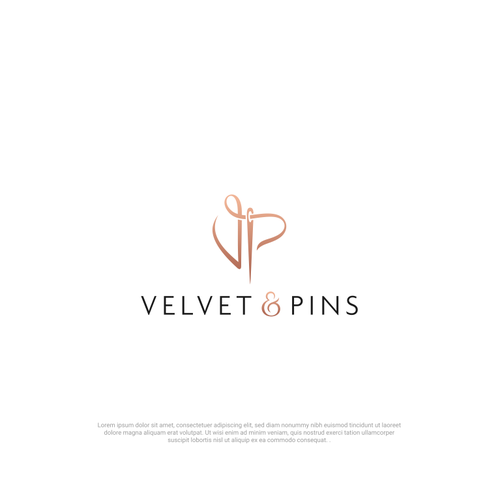 Needle design with the title 'Logo fo Velvet & Pins'