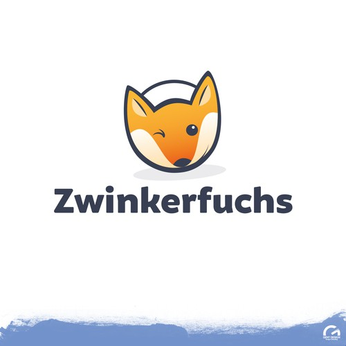 Stylized logo with the title 'Cute - Foxy logo design'