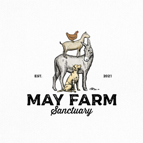 Engraving logo with the title 'May Farm Sanctuary'