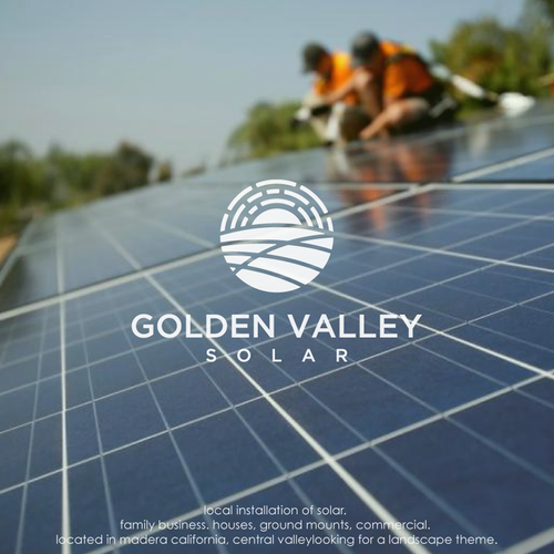 Solar energy logo with the title 'Golden valley solar '