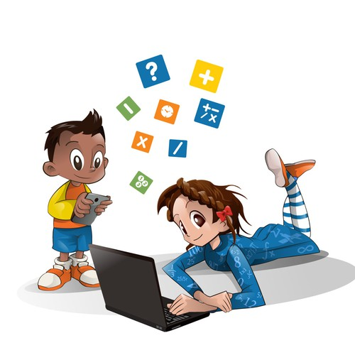 Children's book illustration with the title 'Illustration for mathematics web page'