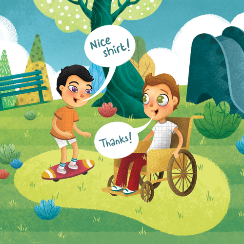 Illustrative artwork with the title 'Right Now I am Kind Book Illustration'