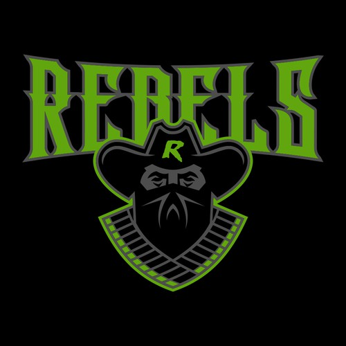 Outlaw design with the title 'Rebels Football'