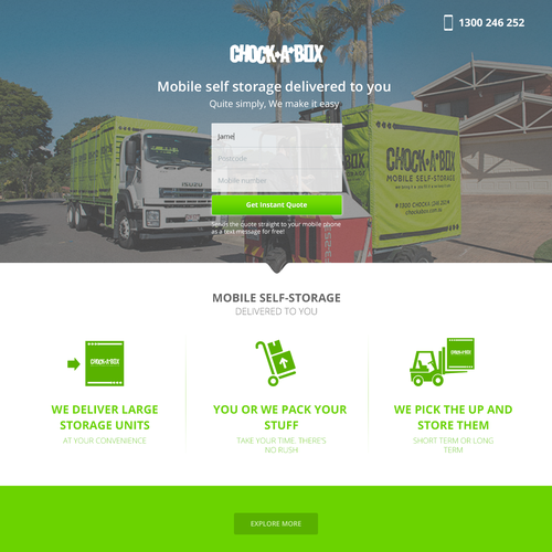 Storage design with the title 'Chock a box landing page'
