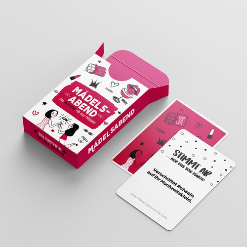 Cartoon packaging with the title ' Playing cards for Girls'