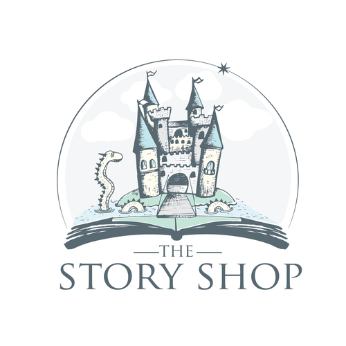 Sketching logo with the title 'hand drawing castle for children book store'