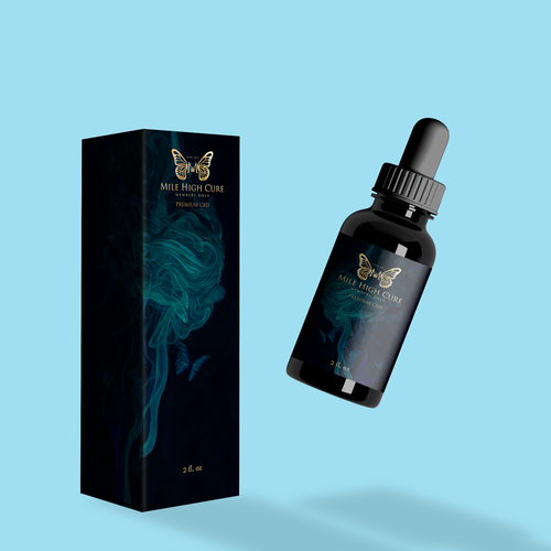 Dropper bottle packaging with the title 'CBD e-juice vape'