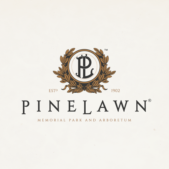 Cemetery design with the title 'PINELAWN Logo & Brand Identity Pack upgrade.'