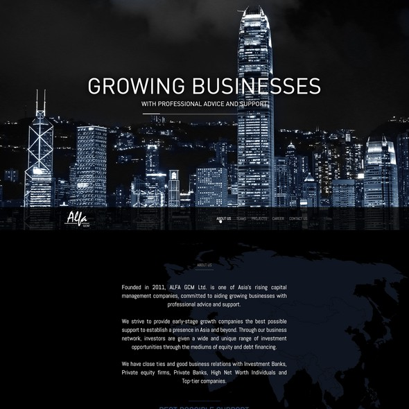 Dark website with the title 'web design business'