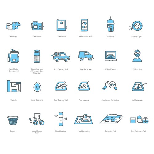 Swim design with the title 'Whale Pools custom icons.'