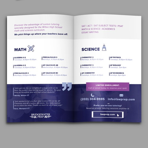 Course design with the title 'Clean bifold brochure for students'