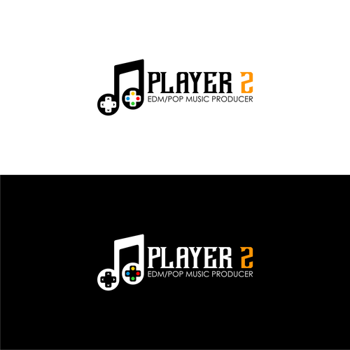 EDM logo with the title 'Player 2 Logo Design'