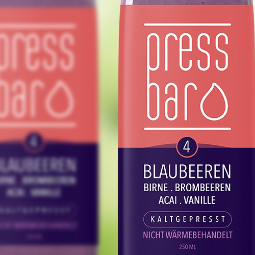Blueberry design with the title 'Pressbar Juices'