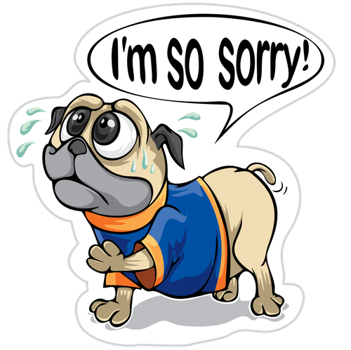 Pug design with the title 'So Sorry Pugg Emoji'