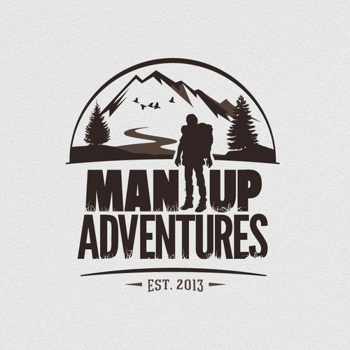 Hiking logo with the title 'Craft a Wild, Rugged, Adventurous logo for Man Up Adventures'