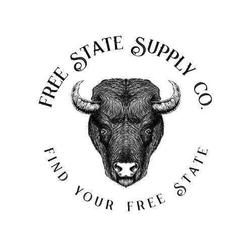 Buffalo design with the title 'Outdoor clothing brand logo design'