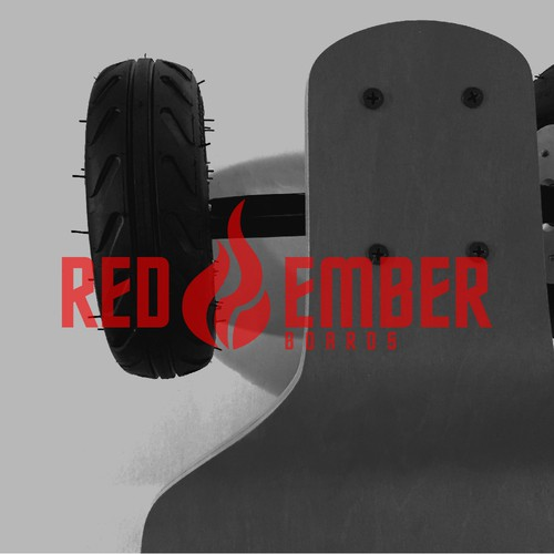 Longboard logo with the title 'RED EMBER BOARDS'