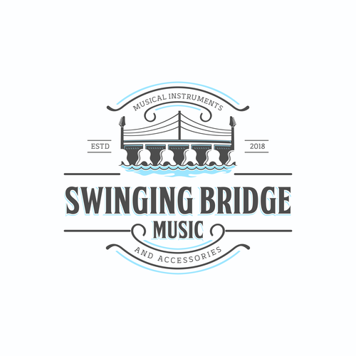 Bridge logo with the title 'swinging bridge music'
