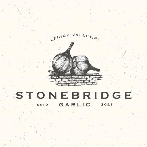 Garlic design with the title 'Hand drawn farm logo'
