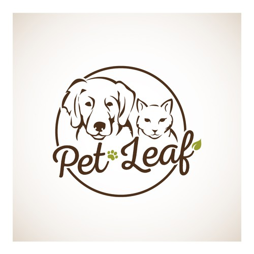 Cat and dog logo with the title 'PetLeaf'