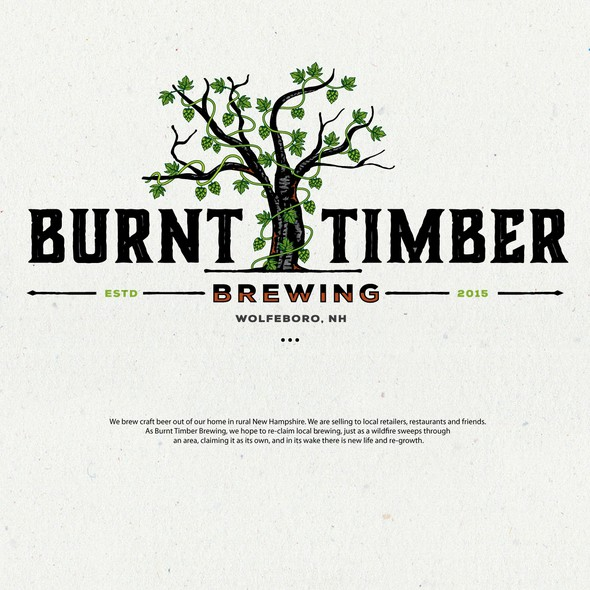 Timber logo with the title 'Burnt Timber Brewing'